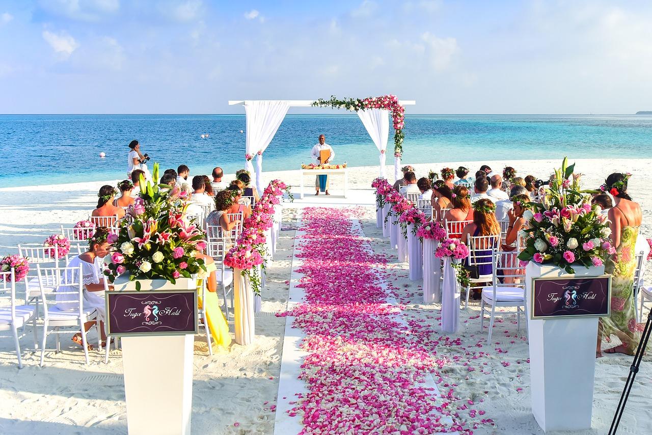 aisle, beach, celebration